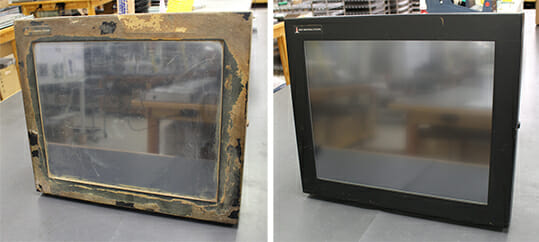 "19"" Universal Mount Monitor with food ingredients caked on the enclosure was returned to us to repair a broken window. We replaced the touch sensor and returned the monitor to ""like new"" condition for many more years of service."